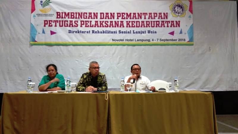 Bimbingan dan Pemantapan Petugas Pelaksanaan Kedaruratan Lanjut Usia (05/09/2018) di Novotel, Bandar Lampung.