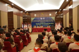 Pendidikan dan Latihan Keprotokolan bagi 60 Pramuka Penegak dan Pandega di Hotel Arnes Bandar Lampung.