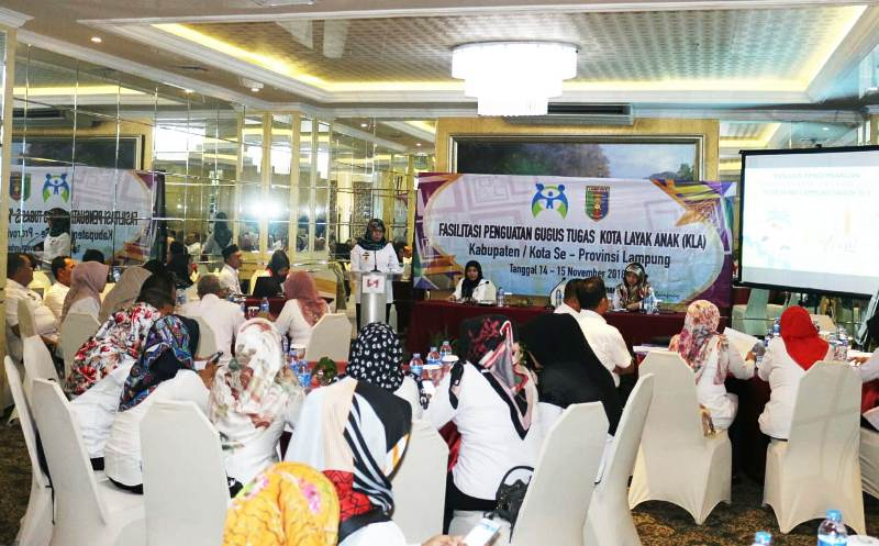 Acara Fasilitasi Penguatan Gugus Tugas KLA Provinsi Lampung.