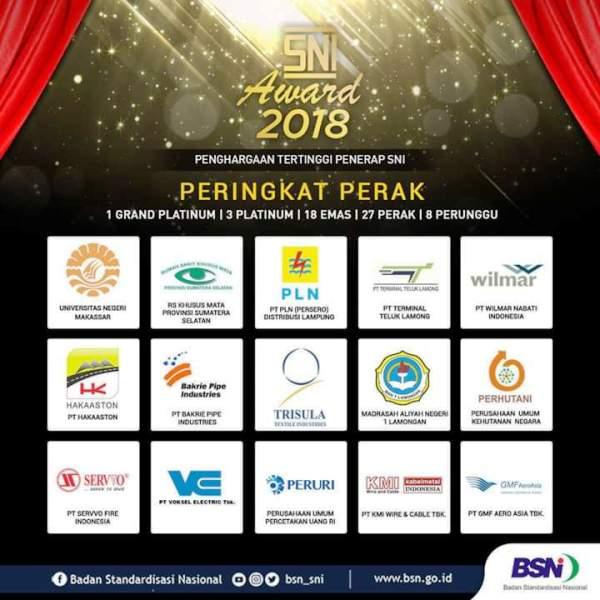 PLN Lampung Sabet Peringkat Perak SNI Award 2018.