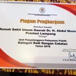 RSUDAM Raih Penghargaan Kementerian PAN-RB, Gubernur Lampung Minta Jaga Mutu Pelayanan