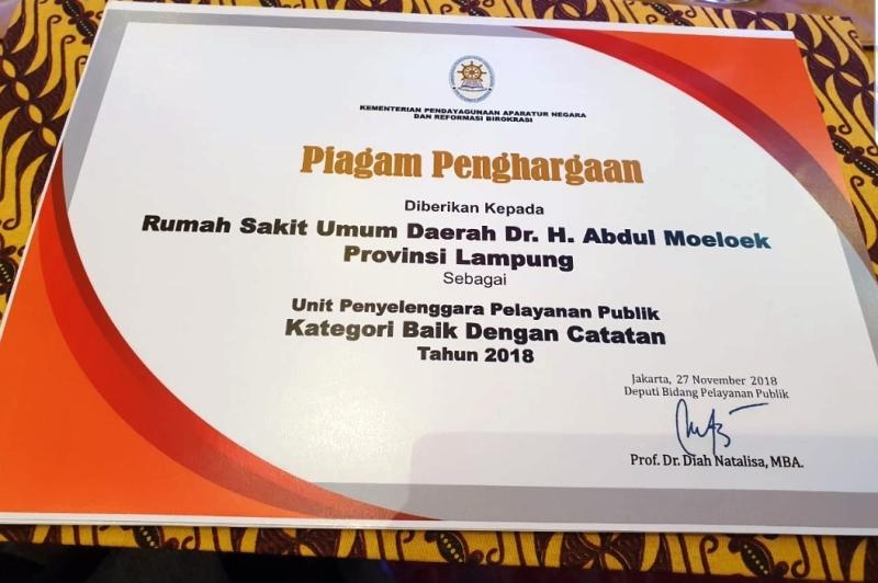 RSUDAM Raih Penghargaan Kementerian PAN-RB, Gubernur Lampung Minta Jaga Mutu Pelayanan.
