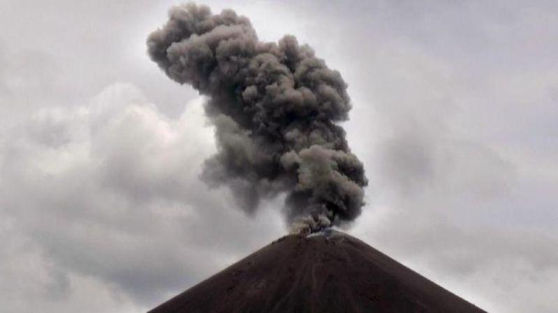 Aktivitas Gunung Anak Krakatau. (ANTARA FOTO/Weli Ayu Rejeki)