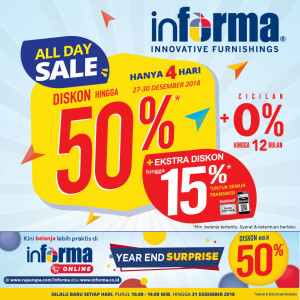 Informa Lampung berikan Promo ALL DAY SALE, Periode 27-30 Desember 2018.