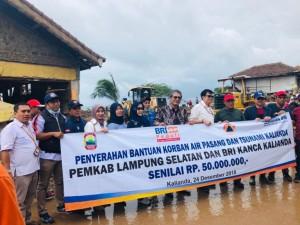Kanwil Bank Rakyat Indonesia (BRI) Bandar Lampung menyerahkan bantuan kepada masyarakat yang terdampak tsunami di Kalianda, Lampung Selatan, Senin (24/12).