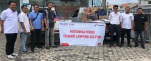 Pasca Tsunami, Pertamina Kirim BBM 200 Liter dan Bahan Makanan ke Pulau Legundi, Kabupaten Pesawaran, Lampung.