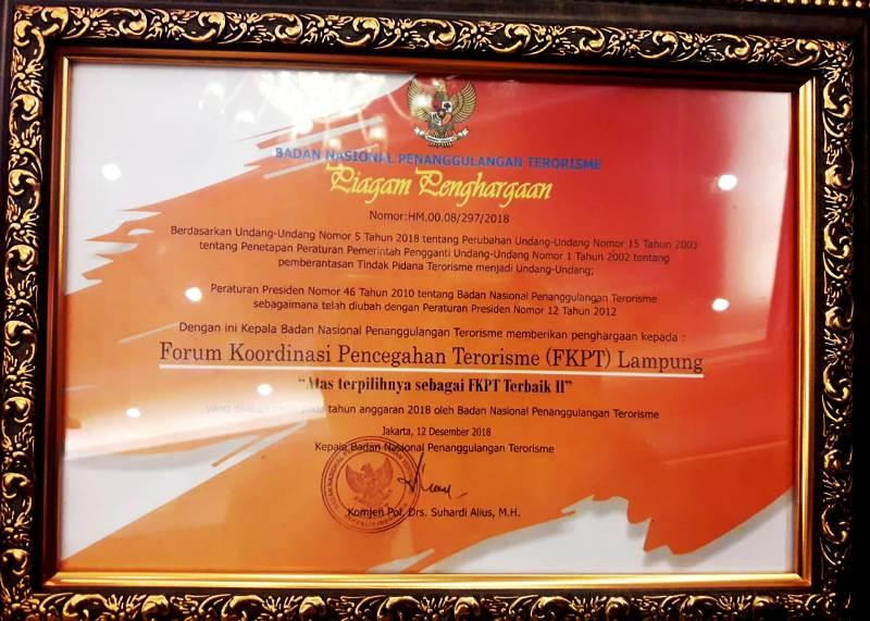 Provinsi Lampung Raih Juara II Nasional Pencegahan Terorisme.