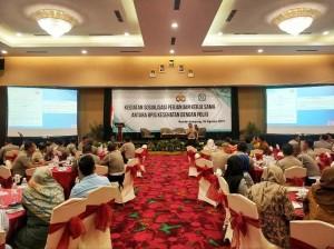 Kegiatan sosialisasi perjanjian kerja sama antara BPJS Kesehatan dengan Polri di Hotel Emersia Bandar Lampung, 26 Agustus 2019.