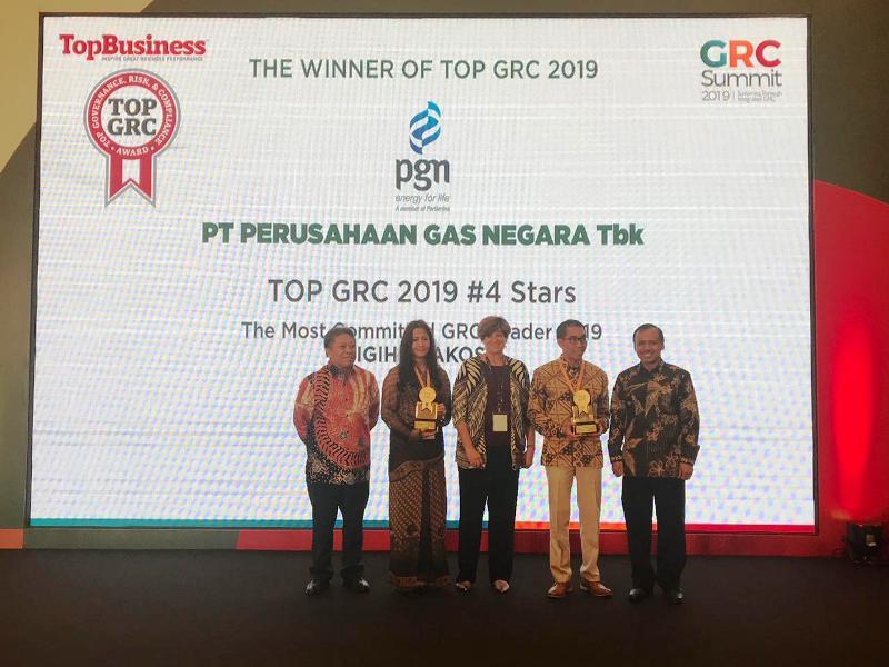 Direktur Utama PGN Gigih Prakoso Soewarto dinobatkan sebagai The Most Committed GRC Leaders 2019 di ajang Top Governance Risk & Compliance Summit 2019 yang digelar  di Hotel Borobudur, Jakarta (22/08).