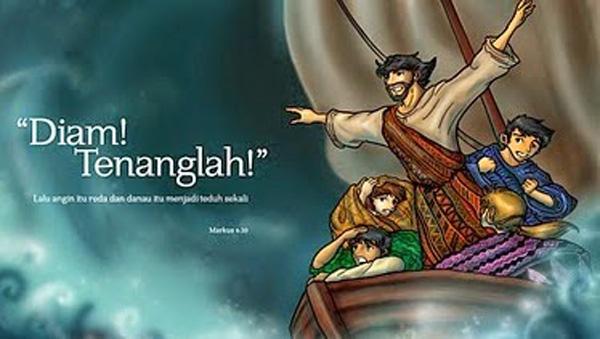 Ilustrasi Yesus menghentikan badai. Sumber : beritapekerja.com