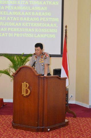 Kapolda Lampung Brigjen (Pol) Edwarsyah Pernong  Rabu (9/9) di Gedung Pertemuan Bank Indonesia Bandar Lampung.