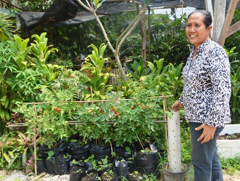 Dra. Charitas I Gusti Ayu Chandrawasih, S.Pd, M.Pd, di halaman kebun tanaman belakang Lembaga Pendidikan dan Pelatihan Pariwista Jalan Urip Sumoharjo Gang Prajurit No. 1, Bandar Lampung, Sabtu 10 Oktober 2015.