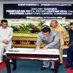 Penandatanganan Nota Kesepakatan KUA dan PPAS APBD Tahun 2016 Oleh DPRD Lampung dan Pemprov