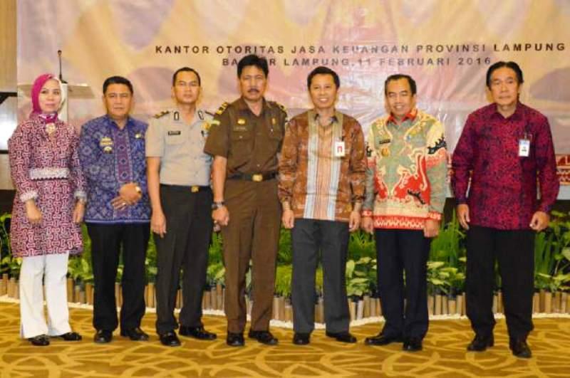 Acara Pertemuan Tahunan Pelaku Industri Jasa Keuangan Provinsi Lampung di Hotel The 7th, Kamis (11/02/2016).