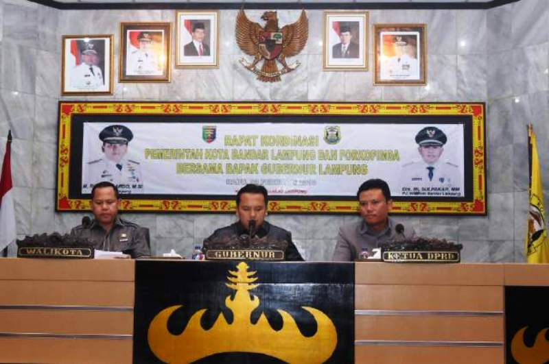Rapat Koordinasi bersama Forum Koordinasi Pimpinan Daerah Kota Bandar Lampung, Rabu (3/2) di Gedung Semergo Pemkot Bandar Lampung.