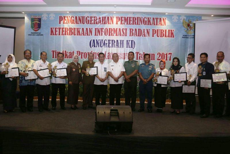 Kegiatan Pemberian Anugerah Pemeringkatan Keterbukaan Informasi Badan Publik (anugerah KI) Tingkat Provinsi Lampung yang dilaksanakan di Hotel Sheraton, Bandar Lampung, Rabu 6 Desember 2017.