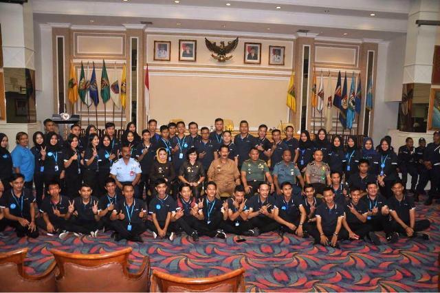 Asisten Bidang Pemerintahan dan Kesra Setda Provinsi Lampung Heri Suliyanto saat Peringatan Bulan K3 Tingkat Provinsi Lampung, Jumat 9 Februari 2018 di Balai Keratun Lantai III.