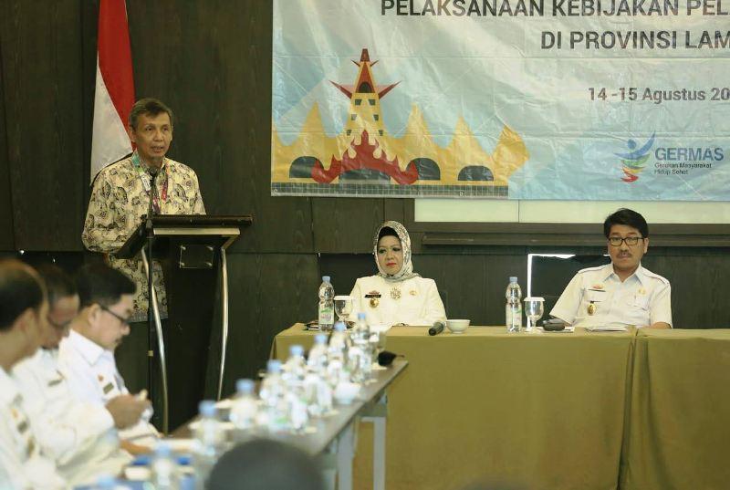 Rapat koordinasi dalam rangka monitoring dan evaluasi (monev) terpadu pelaksanaan kebijakan pelayanan kesehatan Provinsi Lampung di Hotel Novotel, Bandar Lampung, Rabu (15/8/18) pagi.