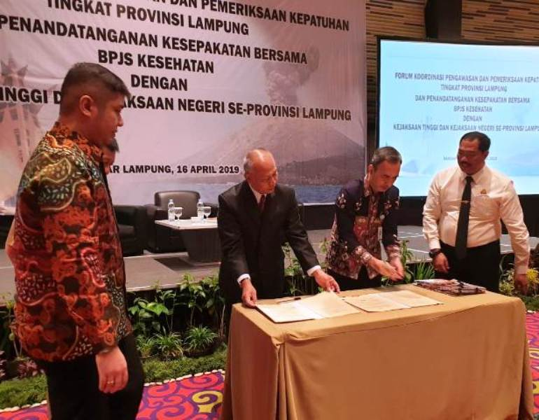 BPJS Kesehatan menandatangani Nota Kesepahaman Bersama dengan Kejaksaan Tinggi Lampung dan Kejaksaan Negeri Se-Provinsi Lampung di Novotel Hotel Bandar Lampung, Selasa, 16 April 2019.
