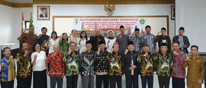 Sesi seruan deklarasi seruan kerukunan dan perdamaian oleh seluruh tokoh agama di Provinsi Lampung.